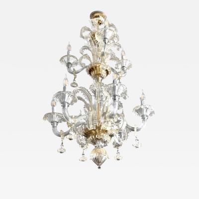 Venetian Baroque Style 9 Light Crystal Pure Gold Murano Glass Modern Chandelier