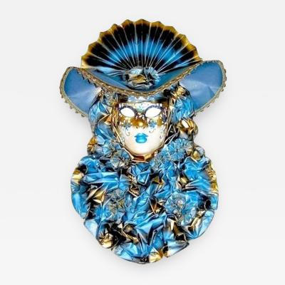 Venetian Handmade Blue Masks with Flowered Pleated Jabot