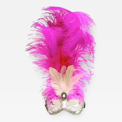 Venetian Handmade Fuchsia Feathered Mask