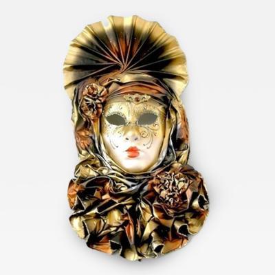 Venetian Handmade Gold Mask with Flowered Pleated Jabot
