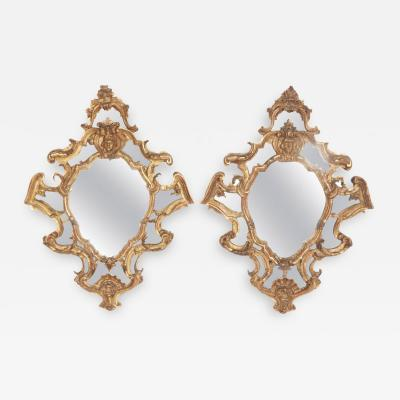 Venetian Mirror Pair Carved and Gilded Wood