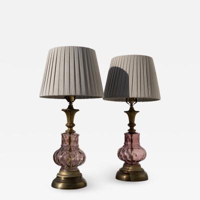 Venetian Purple Glass Lamps A Pair