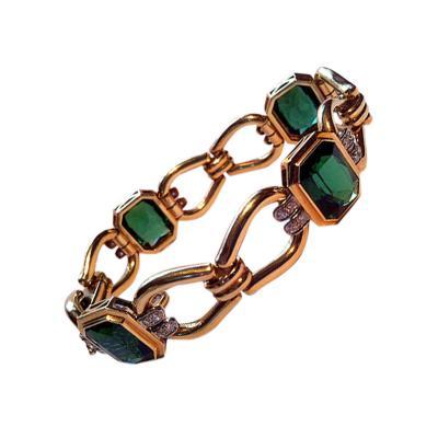 Ver Fine Tourmaline and 14K Bracelet 20th century