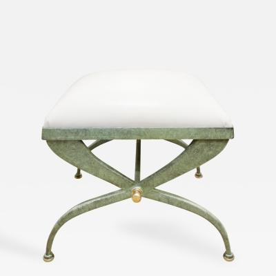 Verdigris Wrought Iron Bench with Leather Seat 1970s
