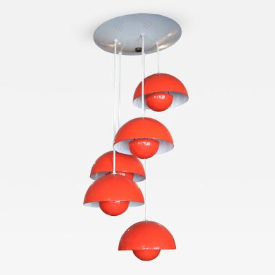 Verner Panton 1970s Red Metal Big Flower Pot Chandelier by Verner Panton