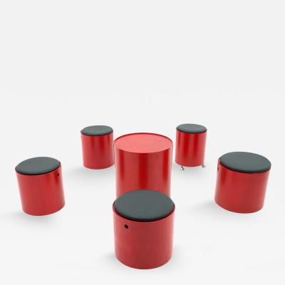 Verner Panton Verner Patton Party Set 1965 Five Stools and One Table