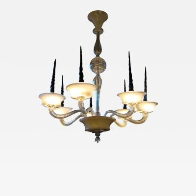 Veronese Seguso for Veronese Pulegoso glass chandelier Circa 1950