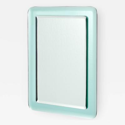Vert NIl Colored Reverse Beveled Mirror Italy 1970s