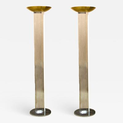 Very Chic Pair of Mid Century Lucite Torcheres with Brass Domes