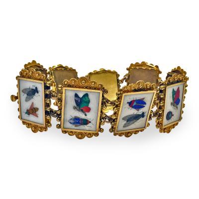 Very Fine 19th Century Gold Pietra Dura Bracelet Italy C 1875