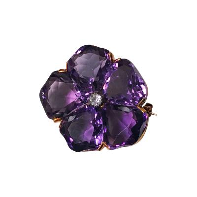 Very Fine Amethyst and Diamond Pansy Brooch 18K C 1900
