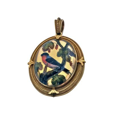 Very Fine Gold Reverse Intaglio Painted Crystal Pendant C 1870