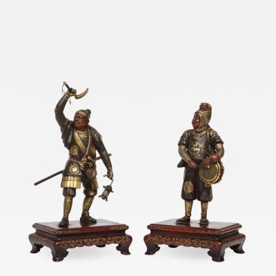 Very Fine Pair of Japanese Bronze Figures by Miyao Eisuke Meiji Period