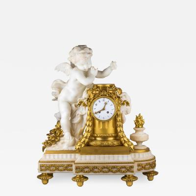 Very Fine Quality French Ormolu and White Marble Winged Cherub Clock