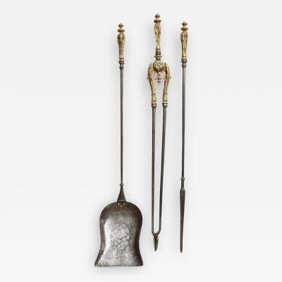 Very Fine Set of Bronze Handled Fire Tools
