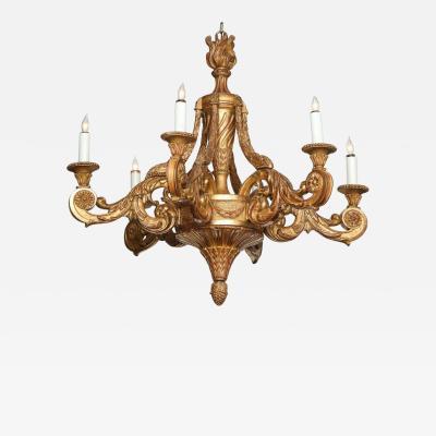 Very Fine Swedish Neoclassic Giltwood Chandelier