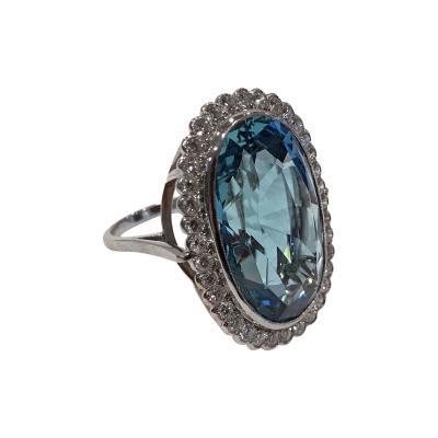 Very Fine large 38 carats Aquamarine Diamond Ring C 1970
