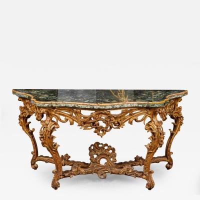 Very Large Mid 18th Century Italian Rococo Giltwood Green Marble Top Console