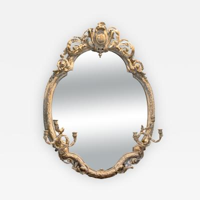 Very Large Painted Oval Girandole Mirror French Circa 1880