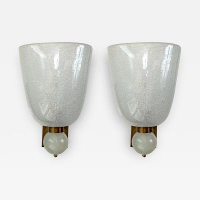 Very Large Pair of Murano Blown Pulegoso Oval Shaped Wall Lights Contemporary