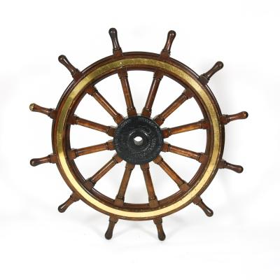 Very Large Scale Mahogany Iron and Brass Ship s Wheel