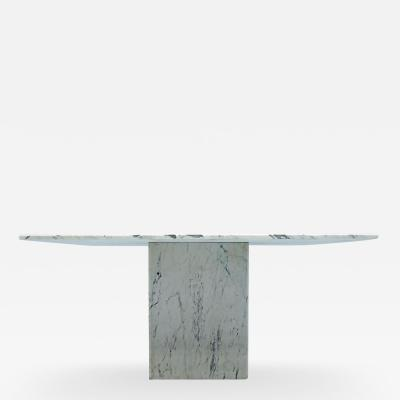 Very Large Square Dining Table in White Carrara Marble Italy 1980s