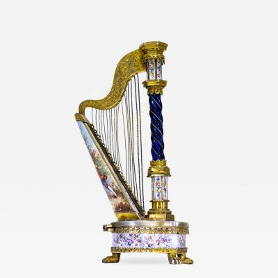 Very Rare 1880s The Harp Austrian Viennese and French Enamel Table Form Clock