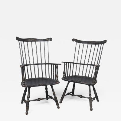Very Rare Near Pair of Comb Back Windsor Arm Chairs