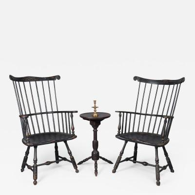 Very Rare Near Pair of Comb Back Windsor Armchairs