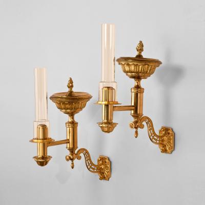 Very Rare Pair of Brass Argand Wall Lights