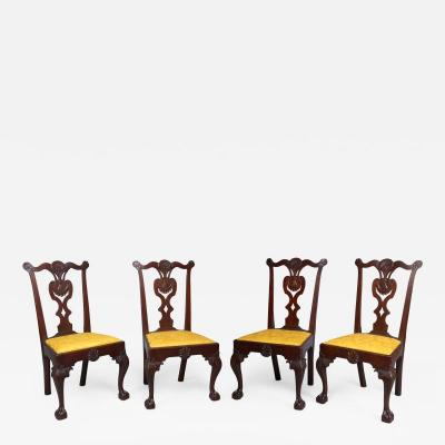 Very Rare Set Of Four Highly Carved Chippendale Mahogany Side Chairs