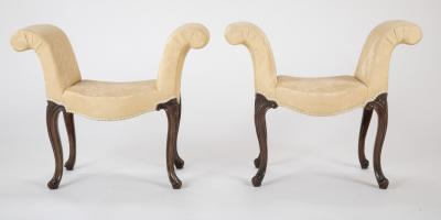 Very Rare Virtual Pair of English George III Carved Benches