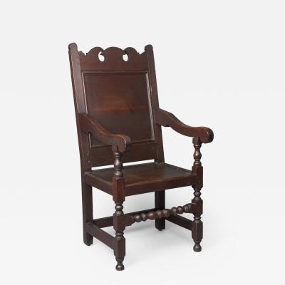 Very Rare Walnut Wm and Mary Wainscot Arm Chair