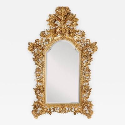 Very large antique Baroque style giltwood mirror