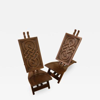 Very rare pair of Africanist chairs in exotic wood