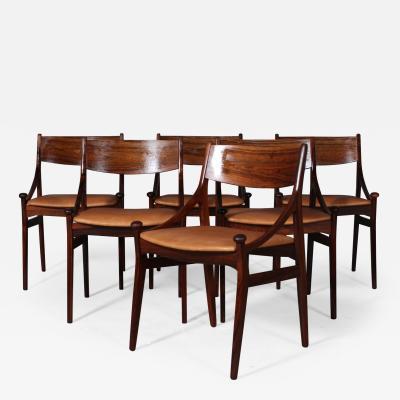 Vestervig Erikson Vestervig Eriksen Set of six rosewood chairs 6