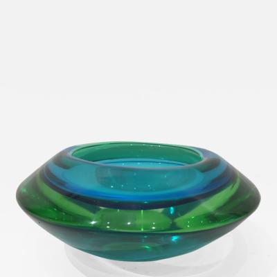 Vibrant Blue and Green Murano Glass Bowl