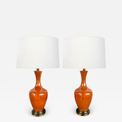 Vibrant Pair of 1960s Iridescent Orange glazed Bottle form Lamps