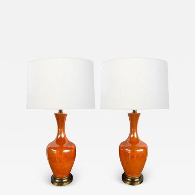 Vibrant Pair of 1960s Iridescent Orange glazed Bottle form Lamps
