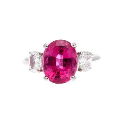 Vibrant Pink Tourmaline Diamond Platinum Ring