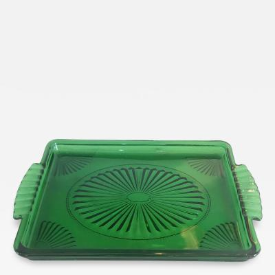 Vibrant emerald green glass tray