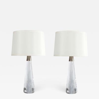 Vicke Lindstrand Conical Shaped Glass Lamps by Vicke Lindstrand for Kosta