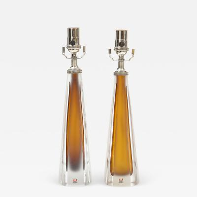 Vicke Lindstrand Pair of 1970s Cognac Colored Glass lamps by Vicke Lindstrand Kosta