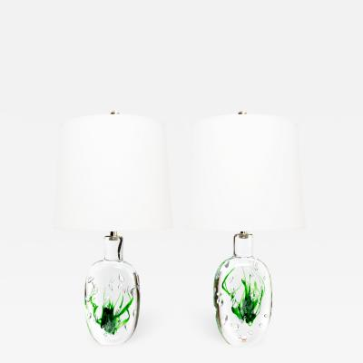 Vicke Lindstrand Pair of Scandinavian Modern Solid Crystal Lamps by Vicke Lindstrand for Kosta
