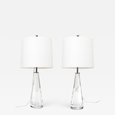 Vicke Lindstrand VICKE LINDSTRAND FOR KOSTA SOLID CRYSTAL LAMPS PAIR