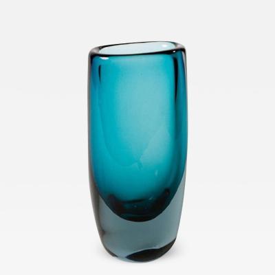 Vicke Lindstrand Vibrant Blue Glass Vase by Vicke Lindstrand