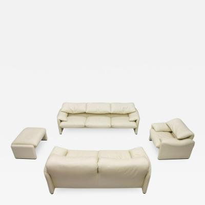 Vico Magistretti Cream White Living Room Set Maralunga by Vico Magistretti for Cassina 1973