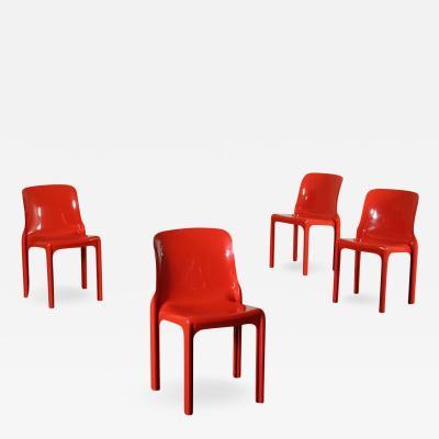 Vico Magistretti Group Of Four Vico Magistretti Chairs Plastic Materials 1960s 1970s