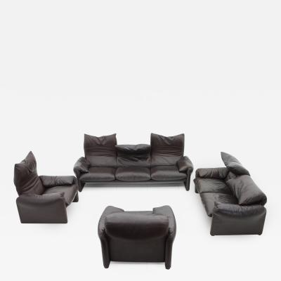 Vico Magistretti Large Leather Lounge Group Maralunga with Chairs and Sofas by Vico Magistretti