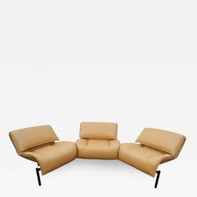 Vico Magistretti Leather Veranda 3 Sofa by Vico Magistretti for Cassina
